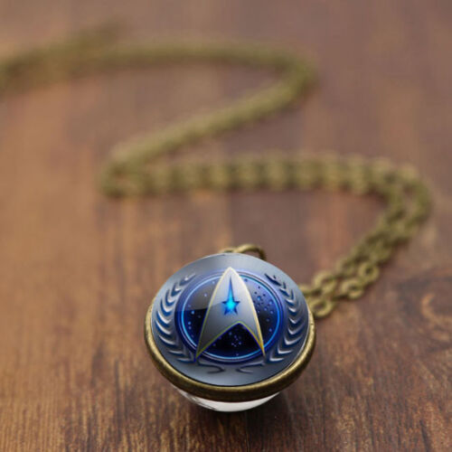 New Vintage Star Trek Mark Charm Double Sided Glass Ball Necklace 1AAAAAA