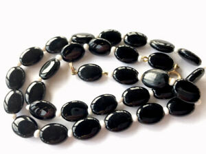 """VINTAGE FRENCH JET Black & White Flat Oval Glass BEAD NECKLACE 17"""" GIFT BOXED"""