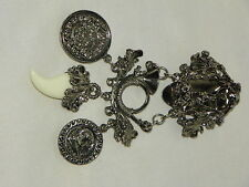 VINTAGE SILVERTONE BROOCH/COLLAR CLIP WITH DANGLING COINS AND WHITE CLAW #6