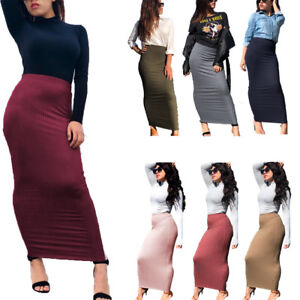 Muslim-Thick-Skirt-Bodycon-Slim-High-Waist-Stretch-Long-Maxi-Women-Pencil-Skirt