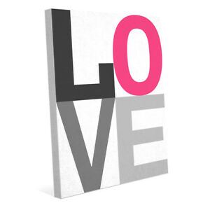 Contemporary LOVE Stacked - Magenta Hot Pink 20x24 Wrapped Canvas Wall Art Print