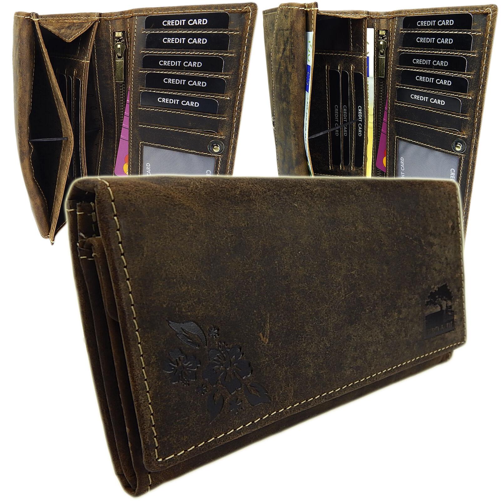BRO&SIS Portemonnaie Damen Geldbörse Brieftasche Original Büffelleder Naturbraun  | Qualität und Quantität garantiert