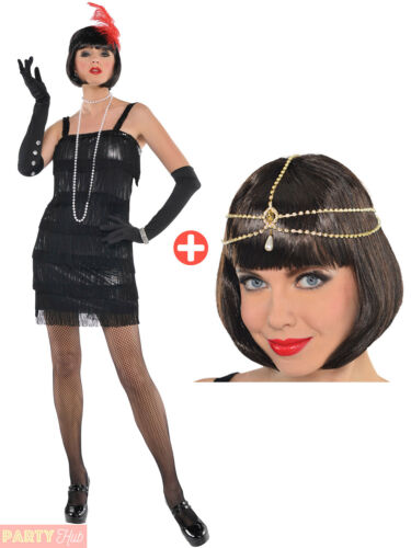 Ladies 1920s Flashy Flapper Costume Adults Charleston Gatsby Fancy Dress Outfit
