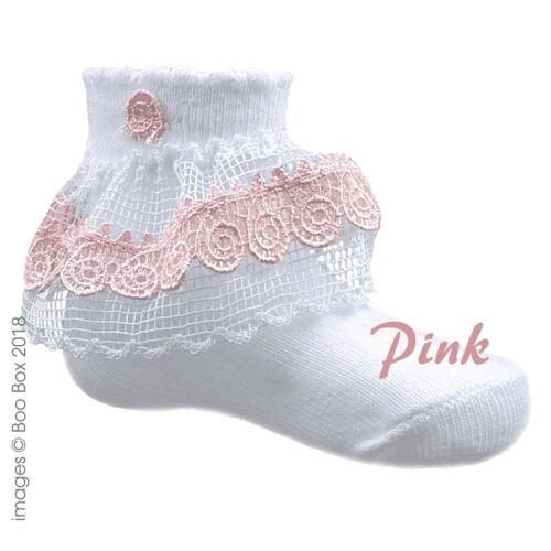 Baby Girls Frilly Spiral Lace Pink Grey White Trim Cotton Rich Ankle Socks 0-12M