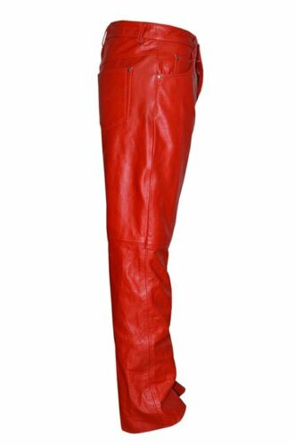 NEW MENS RED REAL COWHIDE LEATHER BIKER STYLE MOTORCYCLE JEANS TROUSERS PANTS