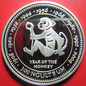 1996-BHUTAN-300-NGULTRUM-SILVER-PROOF-MONKEY-CHINESE-LUNAR-YEAR-SUPERB-RARE-COIN