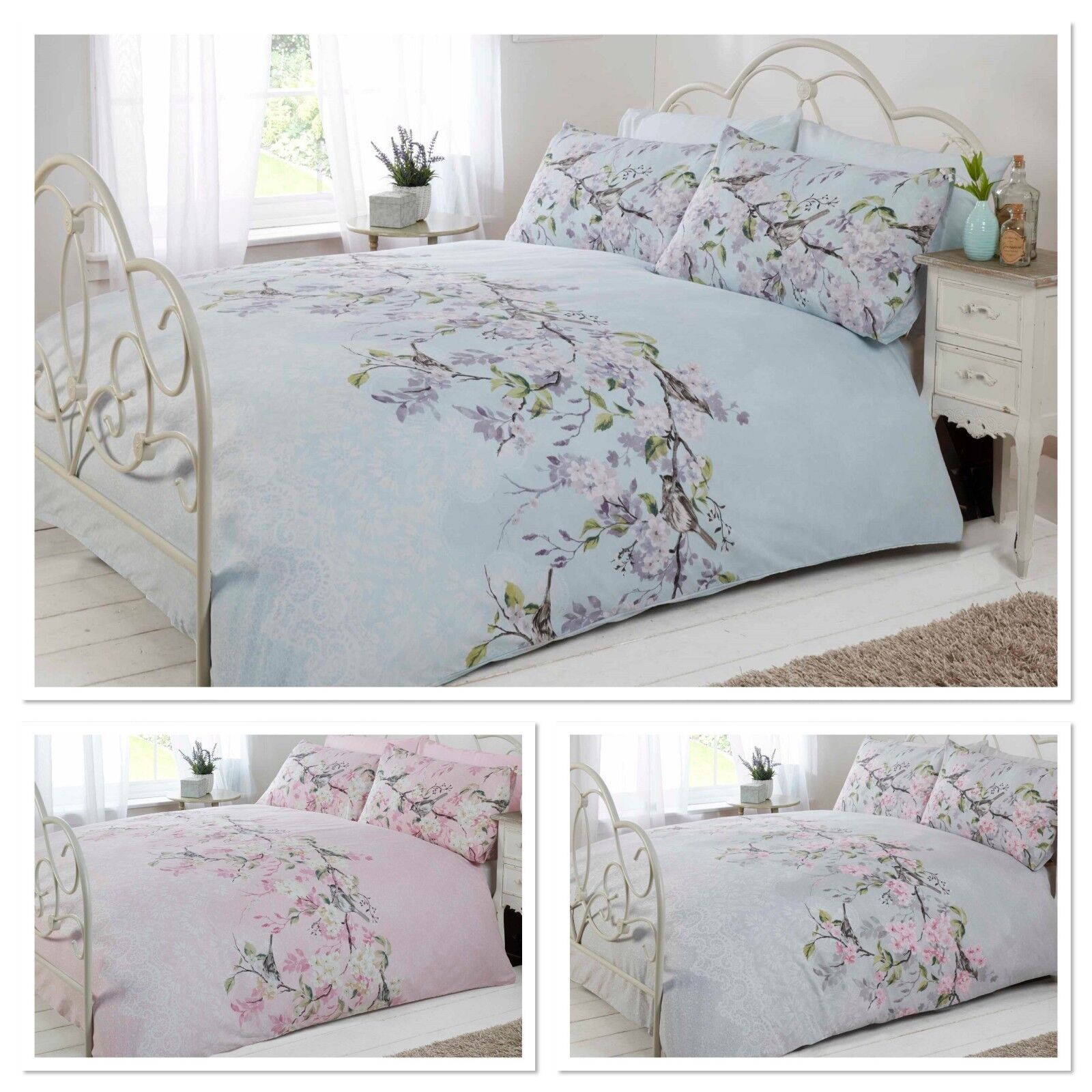 Picture of: Catherine Lansfield Vintage Floral Duvet Cover Blue Red Rose Shabby Chic Bedding Double For Sale Ebay