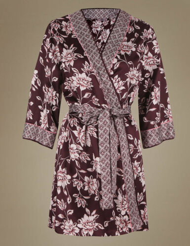 SIZE 8//10 CHOCOLATE FLORAL WRAP DRESSING GOWN MARKS AND SPENCER
