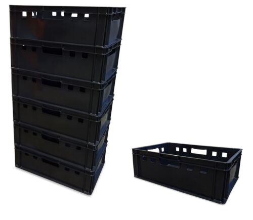 7 x Eurofleischkiste E2 Lagerkiste Metzgerkiste Box Behälter stapelbar schwarz