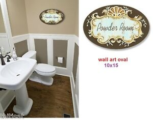 Image Is Loading Powder Room Sign Art Oval Wall Mount Plaque