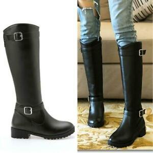 Women Buckle Zipper Chunky Heel Round Toe Mid Calf High Knight Boots Size 4-10.5