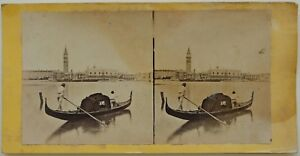 Venezia-Condolier-Venezia-Italia-Foto-Stereo-Vintage-Albumina-c1865