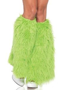 New-Neon-Green-Furry-Leg-Warmers-Womens-St-Patricks-Day-Costume-Accessory-EDC