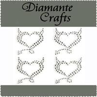 4 x 32mm Clear Diamante Devil Hearts Rhinestone Self Adhesive Vajazzle Body Gems