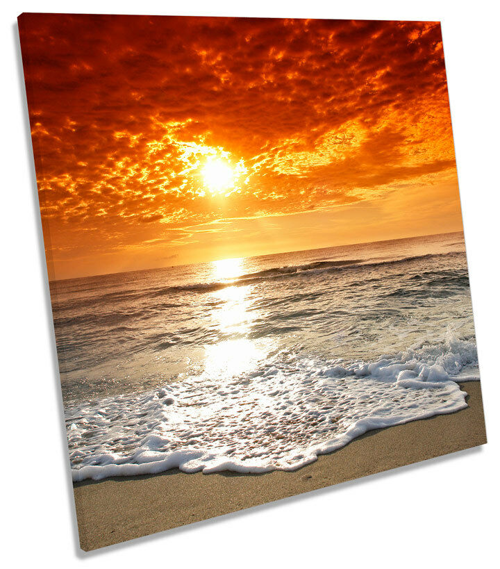 Sunset Beach Seascape SQUARE BOX FRAMED CANVAS ART Picture