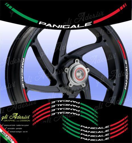Kit Adesivi Cerchi Moto Ruote DUCATIPANIGALE 1299 1199 899 959 tricolore italia