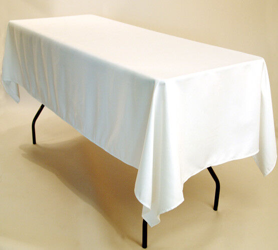 Blanc Ivoire Bleu Marine Noir Rectangulaire Polyester Nappe de Table 178cm X