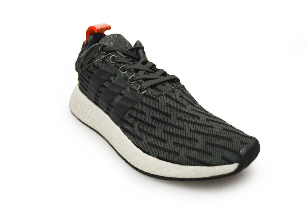 Mens Adidas NMD_R2 PK - BB6859 - Black Trainers White Orange Trainers Black 7dd9bc
