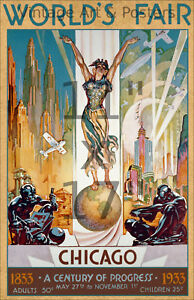 "1933 Chicago World's Fair #1 - ""Columbia"" - 11x17 Vintage Art Deco Poster"