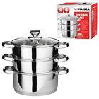 24cm Steamer Cooker 4pc Pot Set Cook 3 Tier Stainless Steel Glass Lids Gift