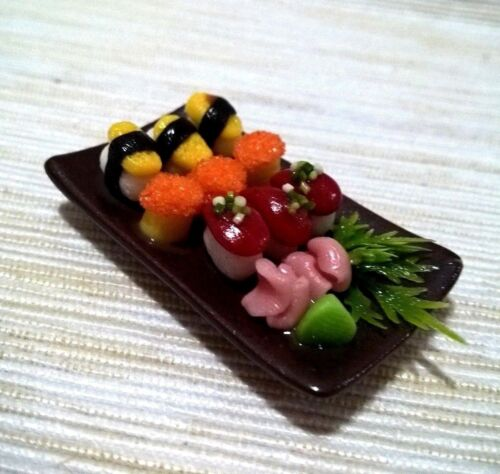 Set Sushi Asian Food Ceramic Dollhouse Miniatures Food Groceries Room Item Decor