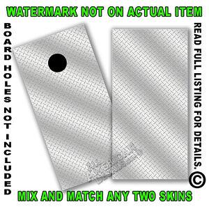 Silver Diamond Plate Cornhole Board Decal Wrap Set of 2 Cornhole Sticker