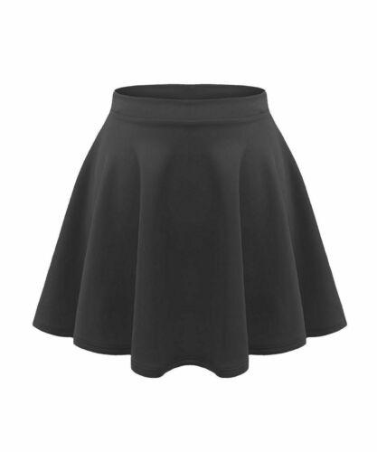 Ladies skater belted skirt stretch waist flippy flared jersey school uniform PnT