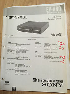 sony service manual set for the ev a80 video 8 vcr video cassette rh ebay com sony video cassette recorder dvd recorder rdr-vx500 manual sony video cassette recorder dvd recorder rdr-vx555 manual