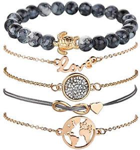 Bracelet-Bijoux-Dore-Or-Argent-Pendentif-Anneaux-Chaine-Perles-Femme-Enfant