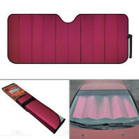 Standard Auto Sun Shade Foldable Metallic Red Wind Shield Lid Reversible Shade
