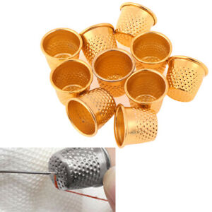 10Pcs-Gold-Finger-Thimble-Sewing-Grip-Finger-Metal-Shield-Protector-Pin-Need-JTO