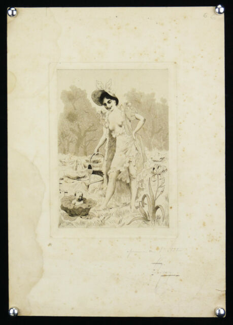 Léon Lebegue (1863-1930) Newborn in Orléans Rare Engraving First Condition Child
