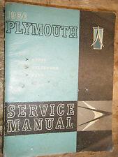 1960 PLYMOUTH PLAZA SAVOY BELVEDERE ORIGINAL FACTORY SERVICE MANUAL