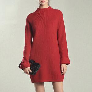 Plus-Size-Women-Warm-Knit-Jumper-Pullover-Loose-Sweater-Long-Sleeve-Tunic-Dress