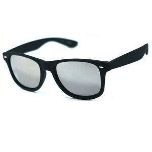 44ada108c Image is loading Matte-Black-Retro-Square-Frame-Sunglasses-Mirror-lens-