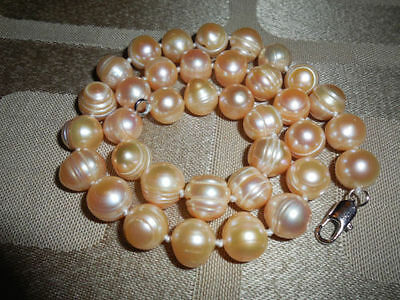 Natural pink Fresh Water Genuine Pearl Necklace Freshwater 11-12mm