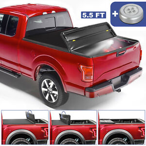 5 5ft 4 Fold Truck Bed Tonneau Cover Soft Folding For 2015 2020 Ford F150 Ebay