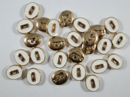 Botón botones 25 pieza oval oro blanco 12x10 mm grande #1487#