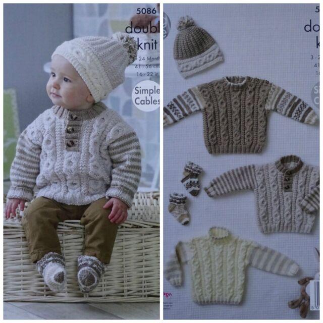 King Cole DK Knitting Pattern 5086 Sweaters Hat & Socks
