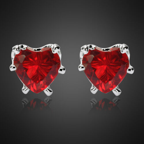 Fashion Jewelry Lady 1 Heart Cut Violet Améthyste Blanc Plaqué or Boucles d/'oreilles Clou