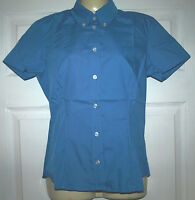 Ladies smart BLUE short Sleeve fitted Blouse Work/office/social/casual Pick Size