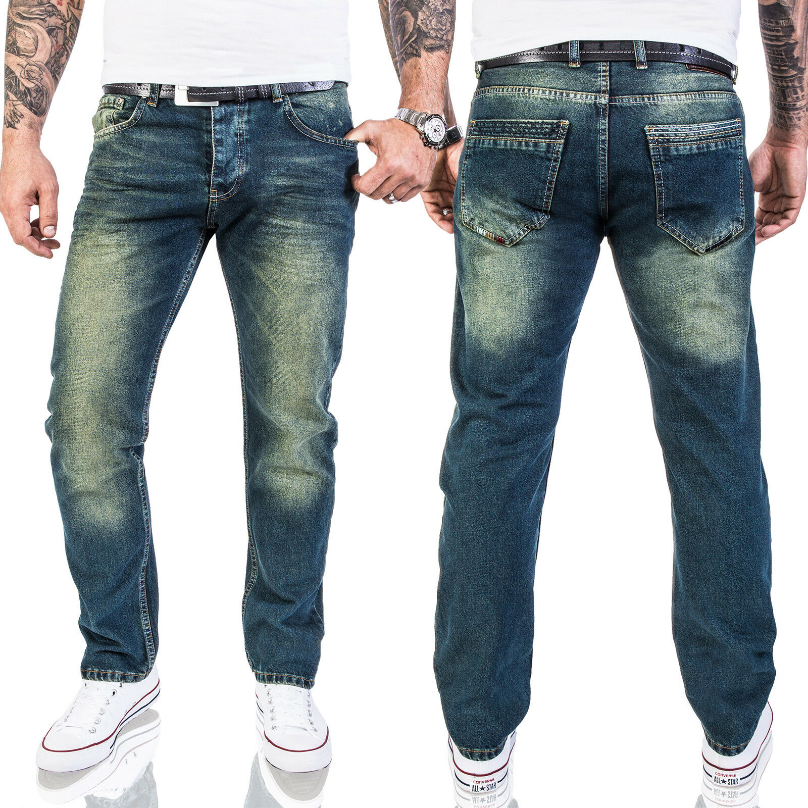 Herren Jeans Hose Regular Fit Blau Lorenzo Loren Jeans Denim Used-Look LL-387
