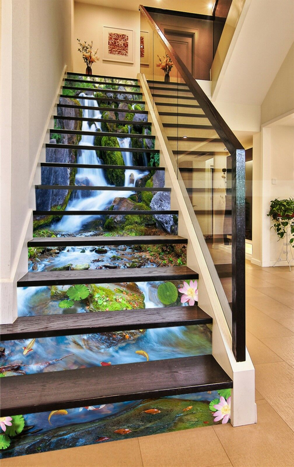 3D Waterfall Carp 9 Stair Risers Decoration Photo Mural Vinyl Decal Wallpaper CA