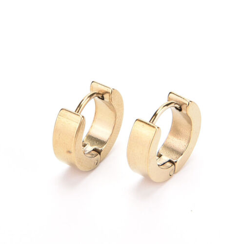 1Pair Mens Stainless Steel Hoop Piercing Ear Earring Studs Jewelry PlF