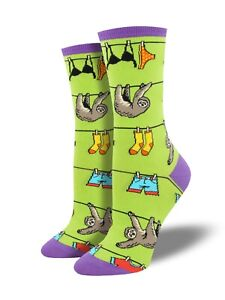 Socksmith-Ladies-Girls-Green-Sloth-Socks-Sloths-Christmas-Gift-Secret-Santa-New