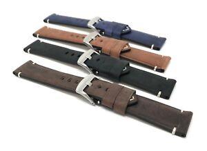 20mm-Vintage-Watch-Band-Strap-Leather-Black-Brown-Blue-Tan-White-Stitch