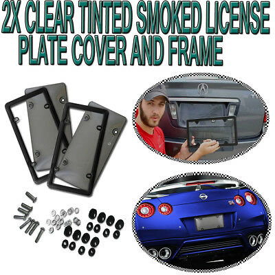 """Zone Tech 2x Tinted Smoked License Plate Novelty Tag Shield Cover Frame 12x6"""""""