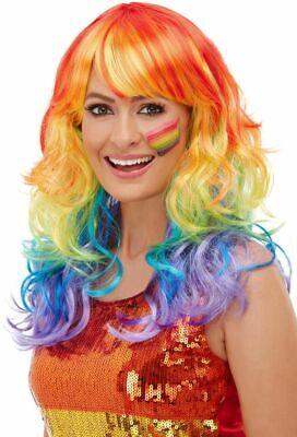 Generoso Women's Anni 1990 Rainbow Colorato Glam Costume Parrucca Festival Pride Lgbt Gallina Divertente-mostra Il Titolo Originale Qualità E Quantità Assicurate