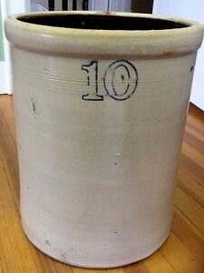 Antique 10 Gallon Stoneware Crock Barrel Ransbottom Ohio