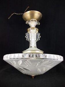 Vintage-30s-Art-Deco-Chandelier-Ceiling-Light-Fixture-Antique-Glass-Shade-Retro